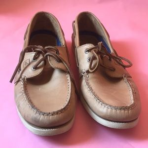 Tan Sperry Top-Sider leather shoes